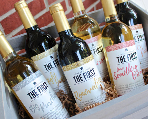 6 Housewarming Gifts for New Home, New Homeowner Wine Label Gift Set, Unique Real Estate Gifts From Agent For Client Congratulations