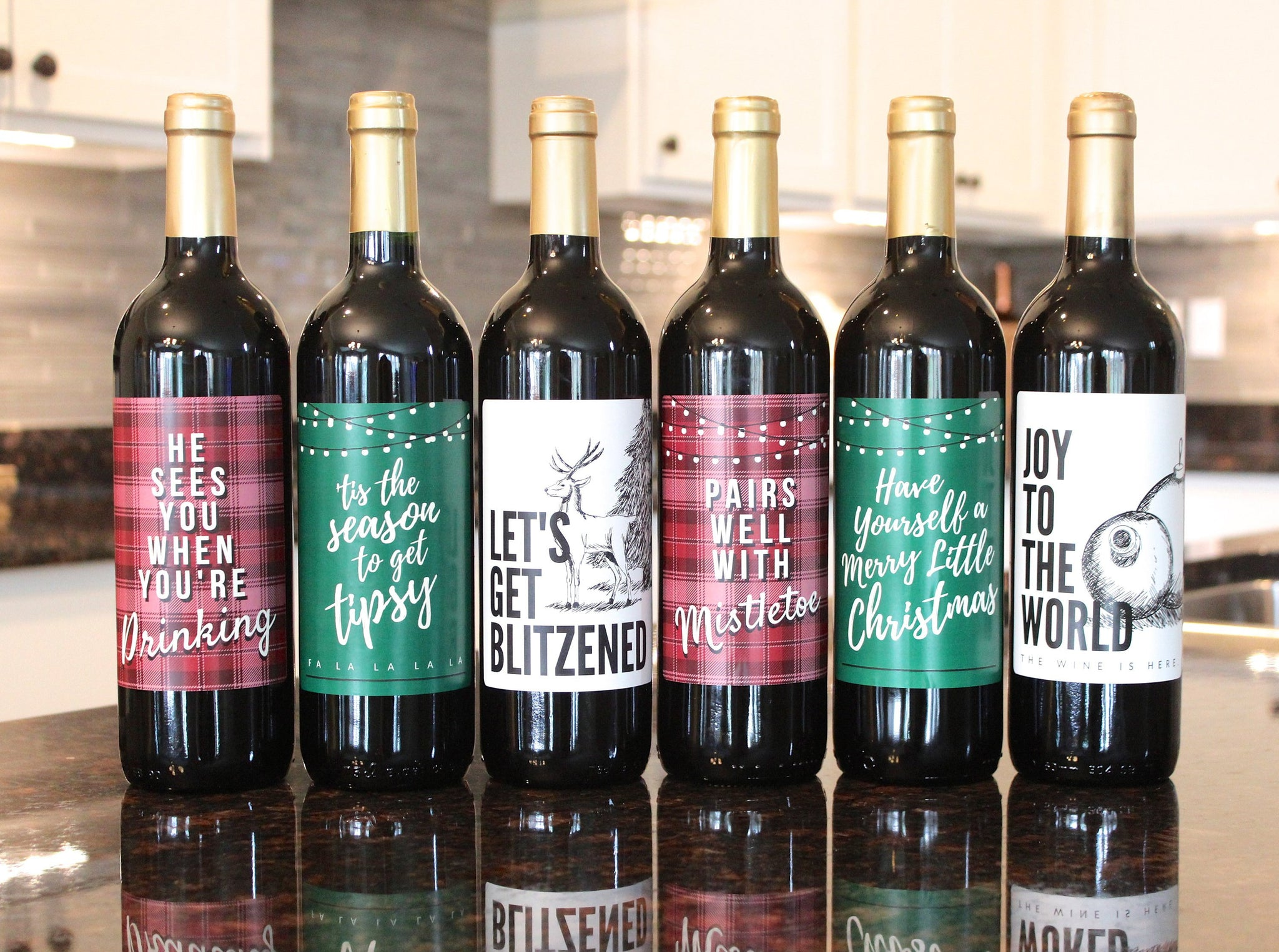 6 Wine Bottle Labels for Christmas Party Decorations and Favors - Perfect for Holiday Party and Gifts for Teachers, Family, and Friends
