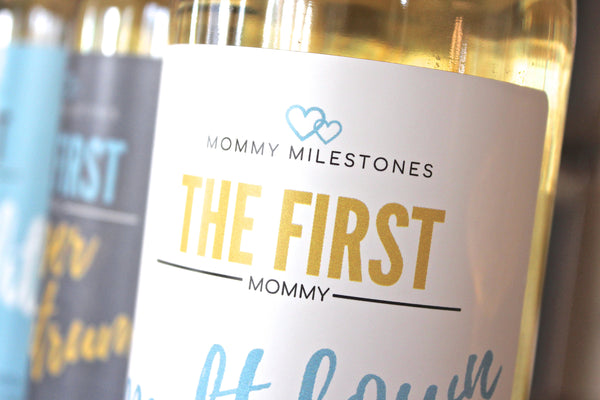 6 Mommy's First Milestones Wine Labels and Stickers, Great Baby Shower and Pregnancy Gift Ideas for Mom To Be, Funny Mom's First Moments