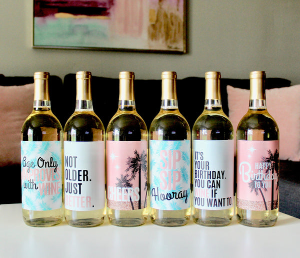 6 Birthday Wine Bottle Labels or Stickers Present, Any Age Funny Unique Tropical Birthday Party Decoration Centerpiece Supplies Anyone