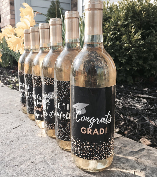 6 Graduation Gift Wine Labels or Stickers, Grad Party Decoration, For College, University, Masters, PHD, Nurse RN Navy Army Doctorate Grad