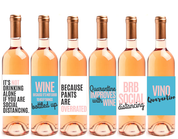 6 Quarantine Gift Wine Bottle Labels Perfect for Social Distancing Gift or for Alone Time, Quarantine Birthday Gifts, Funny Quarantine Gifts