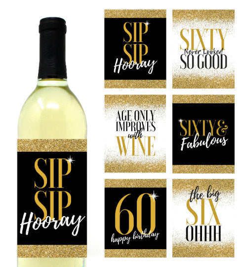 6 Premium 60th Birthday Wine Bottle Labels or Stickers Present, Funny Black & Gold Party Decorations Supplies For Friend, Wife, Girl, Mom