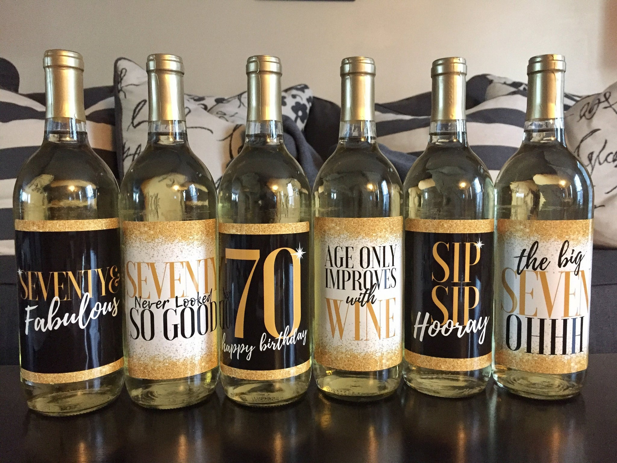 6 Premium 70th Birthday Wine Bottle Labels or Stickers Present, Funny Black & Gold Party Decorations Supplies For Friend, Wife, Girl, Mom