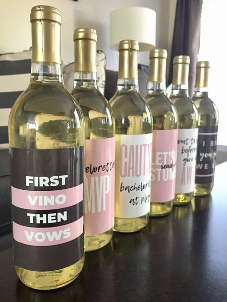 6 Bachelorette Wine Labels and Stickers, Great Bachelorette Party & Bridal Shower Gift Ideas for Bride To Be, Funny Bachelorette Party Decor