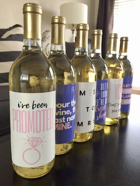 6 Engagement Wine Labels and Stickers, Great Bridal Shower & Engagement Gift Ideas for Bride To Be, Funny Engagement Party Decorations Gift
