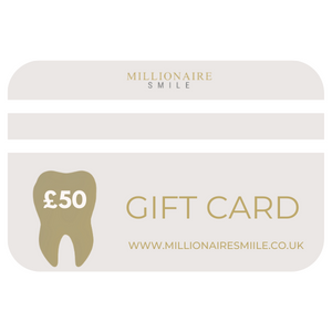 Millionaire Smile Gift card £50 to spend on Teeth whitening. Gift teeth whitening sets & kits.