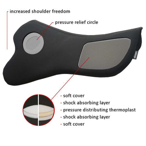 diagram of s curve pad in black, with pressure relief points shown grey under stirrup bar & at rear