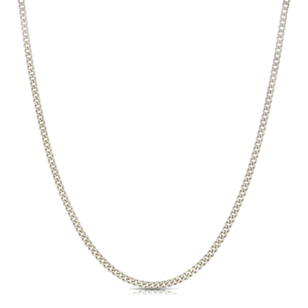 Mini Curb Chain Necklace - Silver