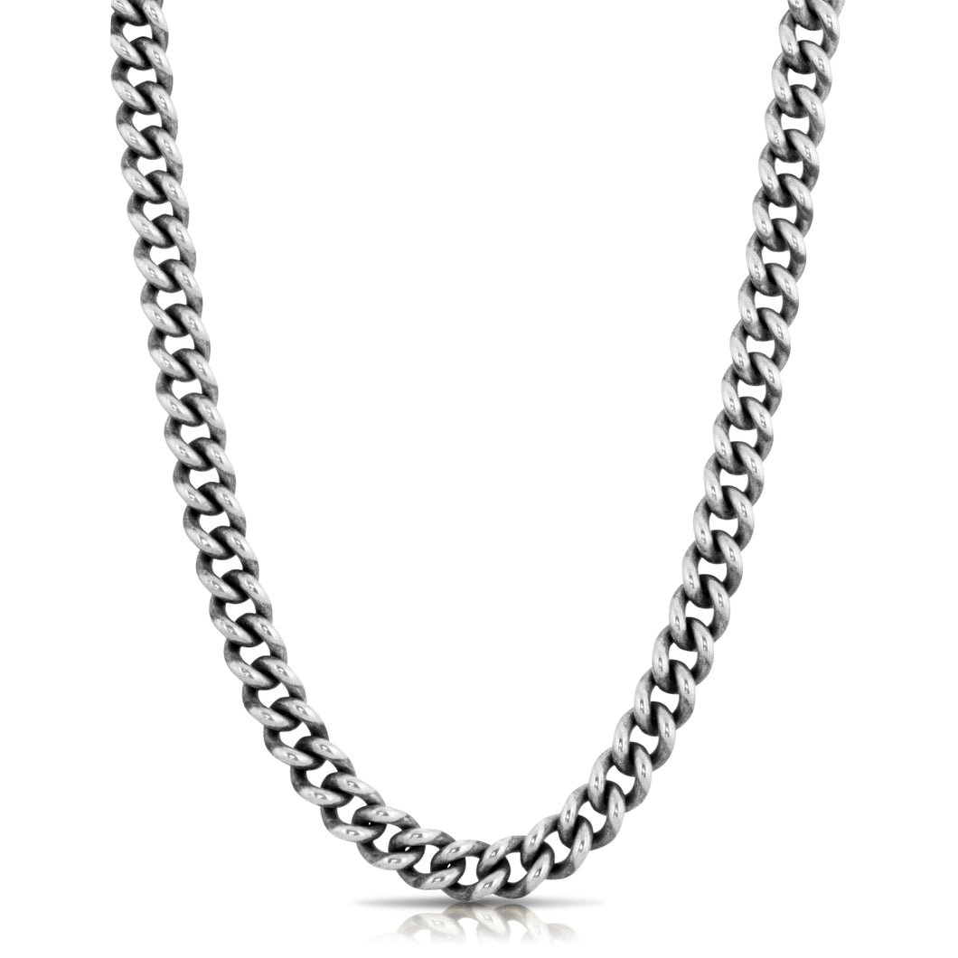 Rounded Curb Chain Necklace - Silver