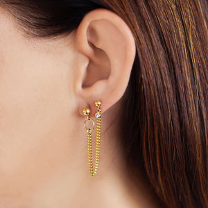 Double Stud Curb Chain Earring - Gold
