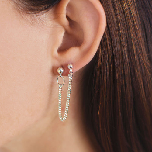 Double Stud Curb Chain Earring - Silver