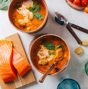 Tomato Salmon and Spinach Soup