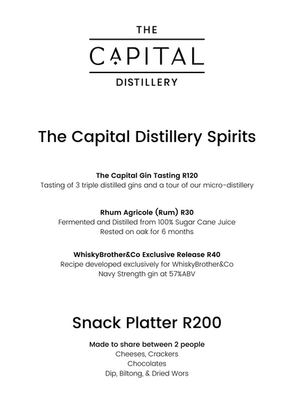 Wine and Whisky menu The Capital Gin Distillery Rum