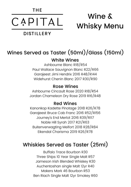 Wine and whisky menu the capital distillery gin rum