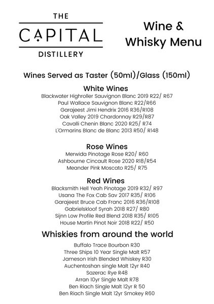 Wine and Whisky Menu The Capital Distillery