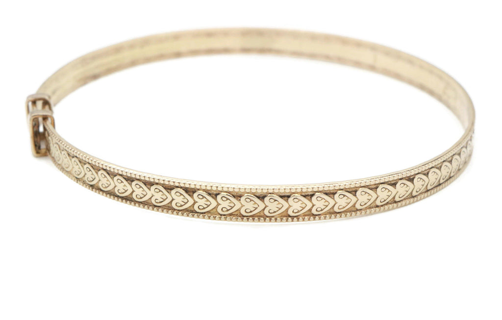 Rolled Gold Heart Expanding Bangle - Renee Isabella