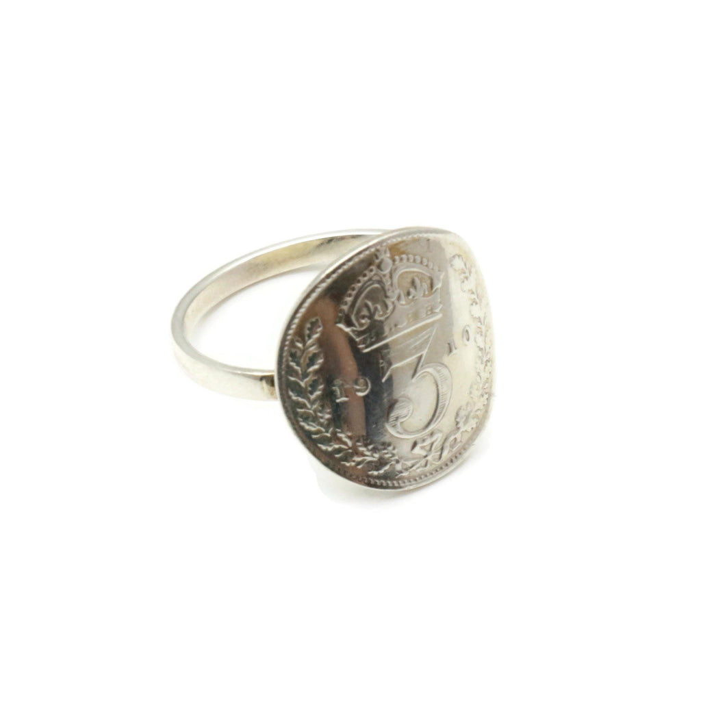 Threepence Coin Ring 925 Silver - Renee Isabella