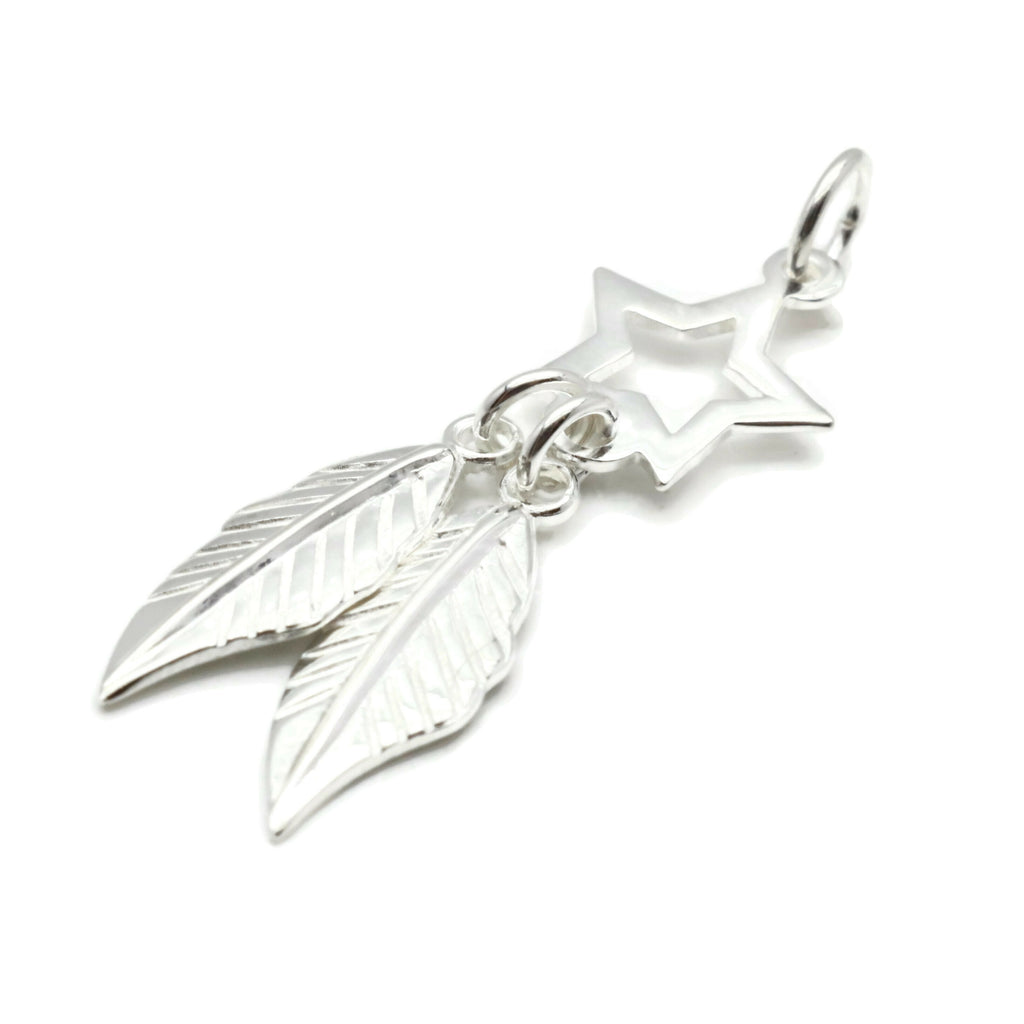 Stars and Feathers Pendant 925 Sterling Silver
