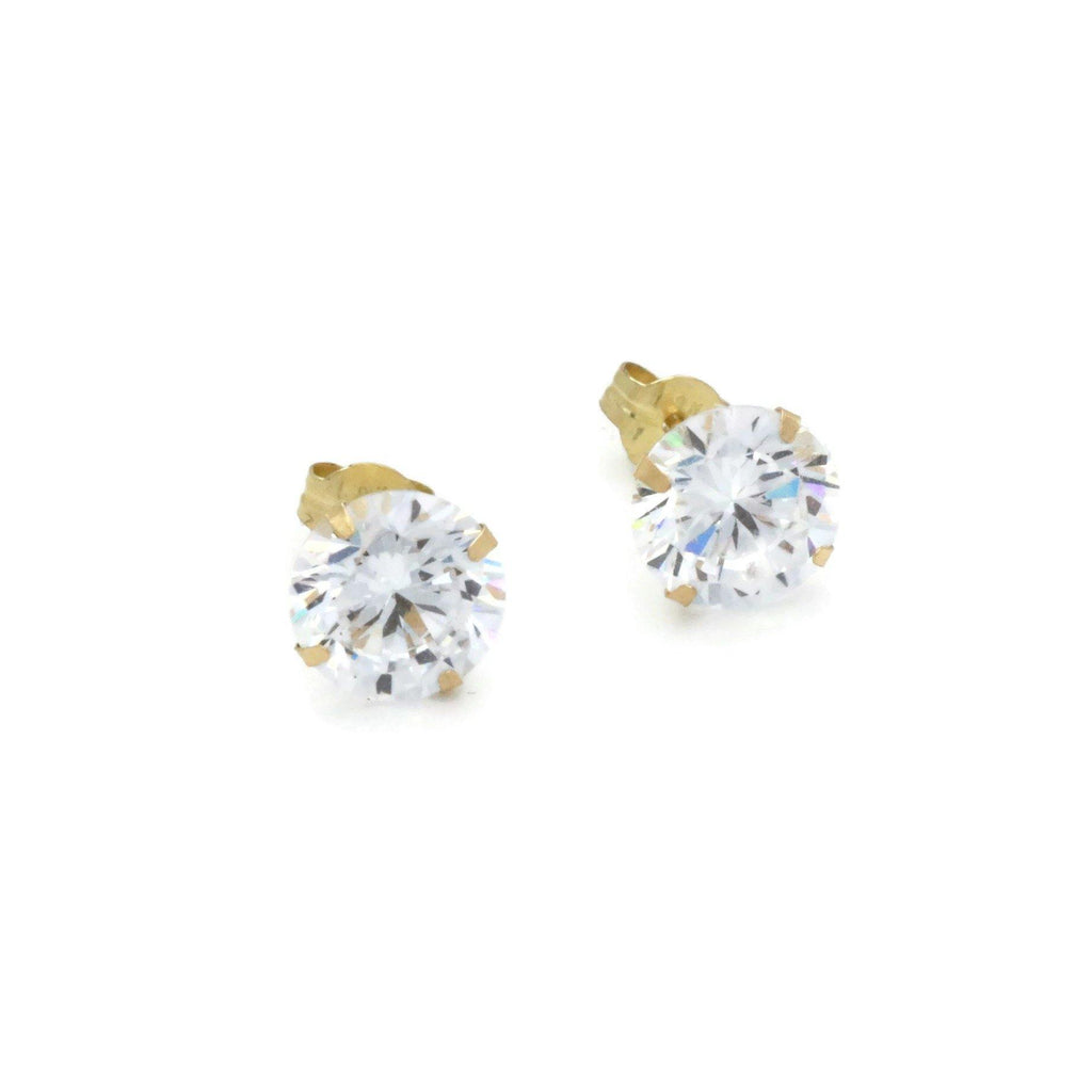 Cubic Zirconia Studs 6.5mm 9ct Yellow Gold - Renee Isabella