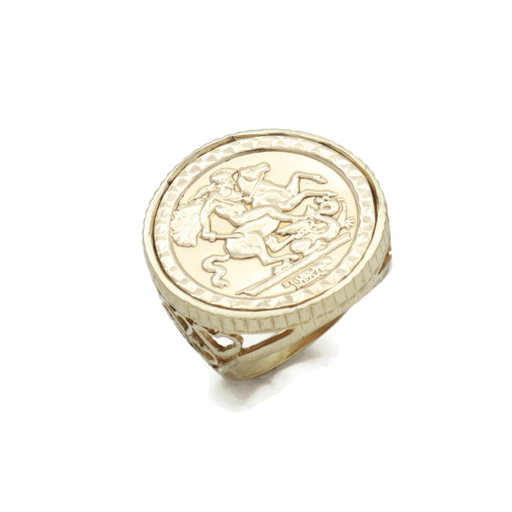 St George Coin Ring 9ct Gold