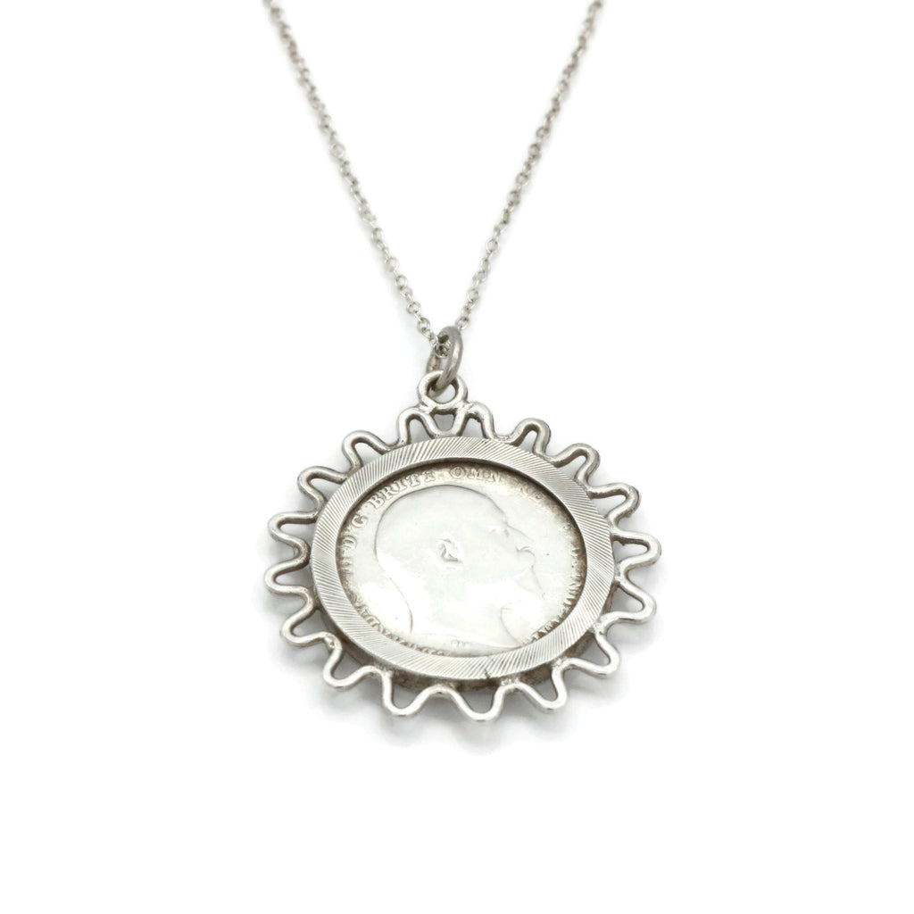 Edwardian Threepence Necklace 925 Sterling Silver - Renee Isabella