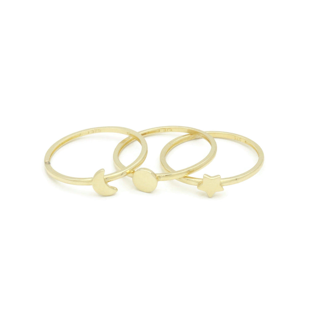 Celestial Ring Set 9ct Yellow Gold - Renee Isabella