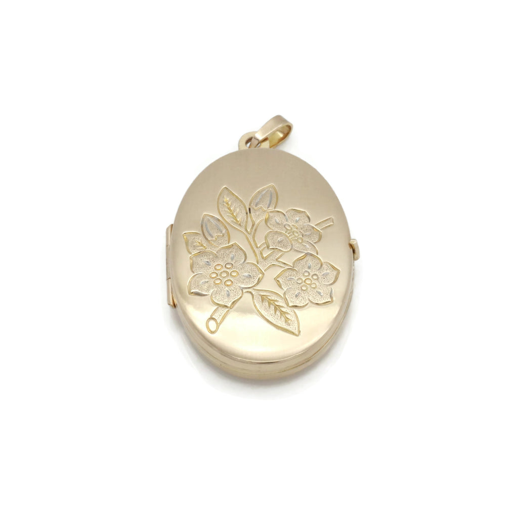 Large Floral Locket 9ct Yellow Gold