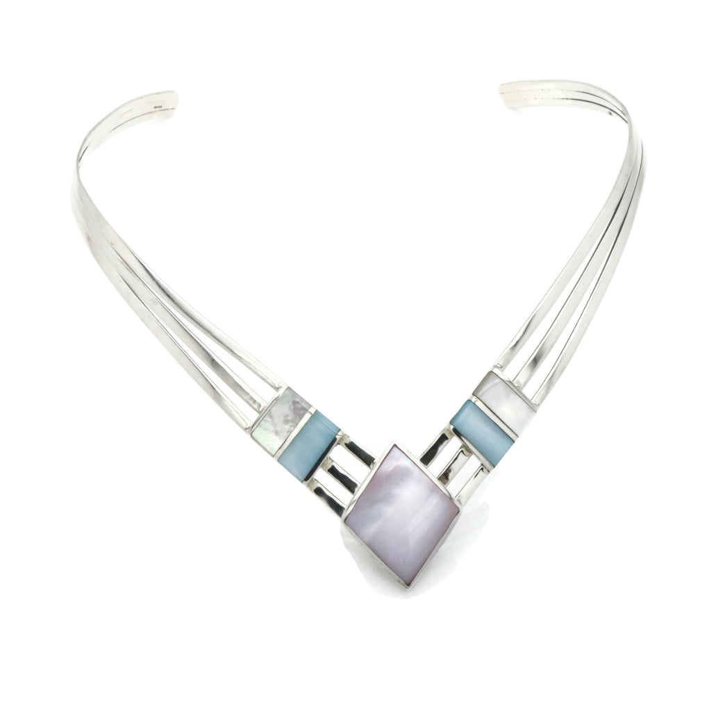 Mother of Pearl Collar Necklace 925 Sterling Silver