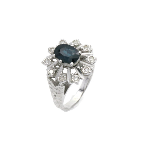 Vintage Blue Sapphire & Diamond Ring 18ct White Gold