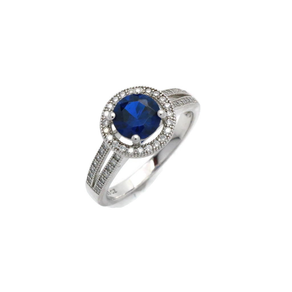 Blue Cubic Zirconia Halo Ring 925 Sterling Silver - Renee Isabella