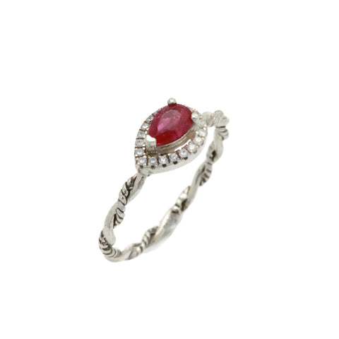 Red Cubic Zirconia Ring 925 Sterling Silver