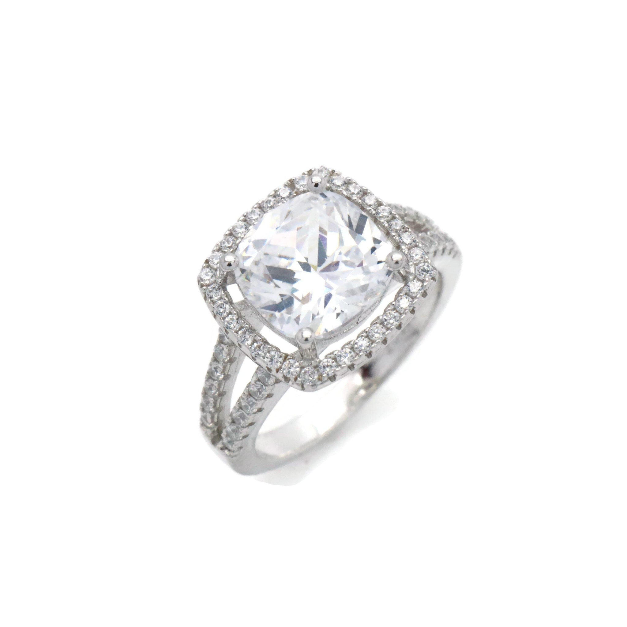 Cubic Zirconia Cushion Halo Ring 925 Sterling Silver