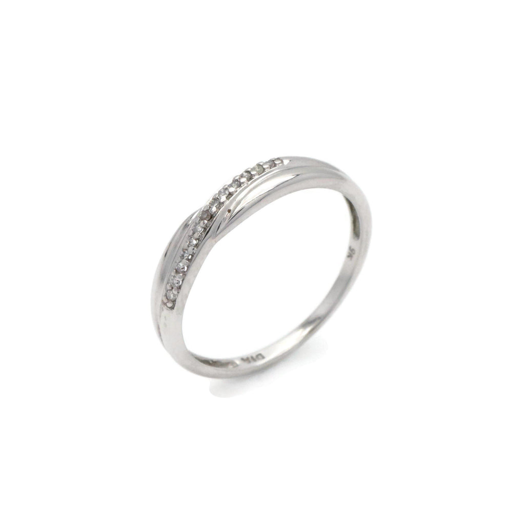 Diamond Crossover Ring 9ct White Gold - Renee Isabella