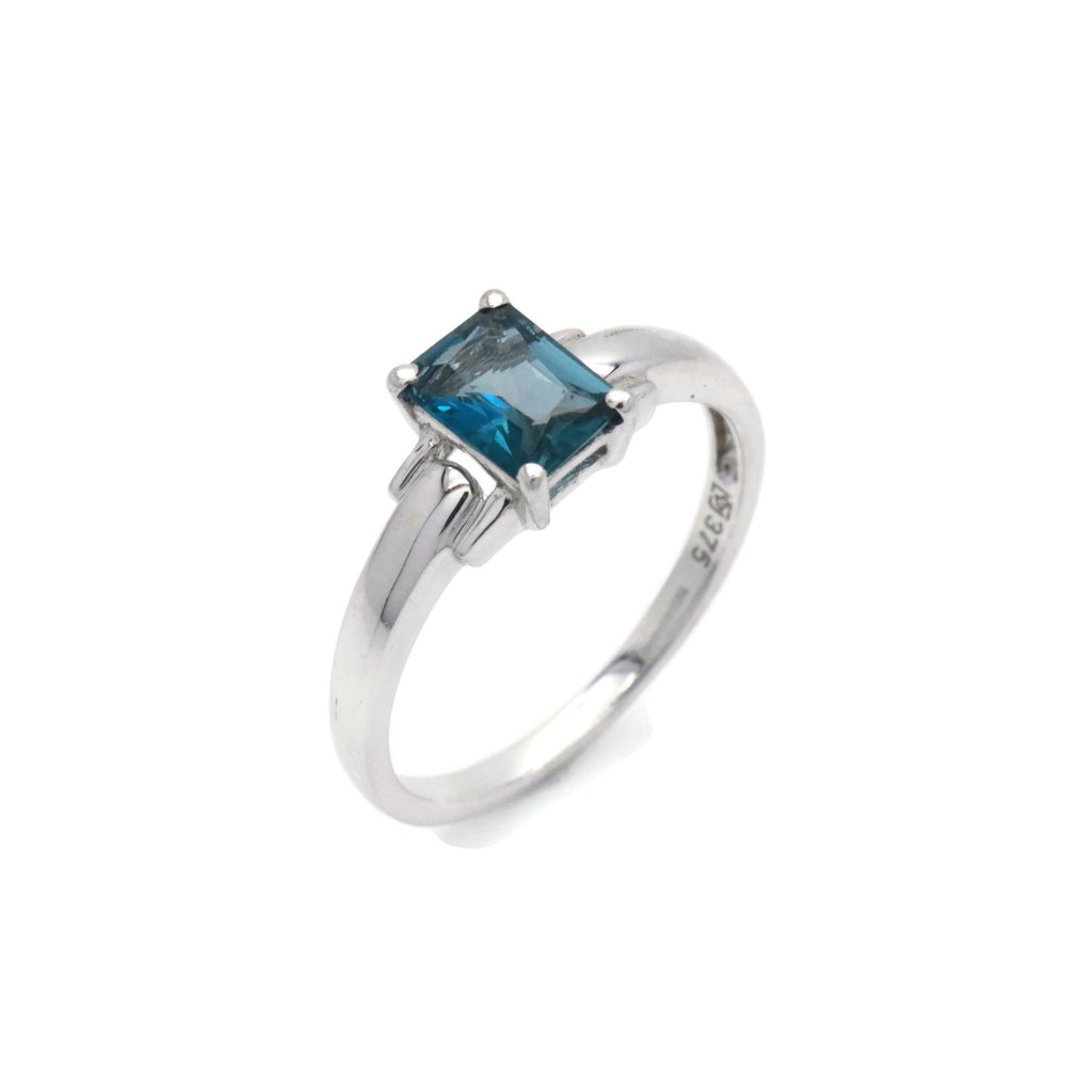 London Blue Topaz Ring 9ct White Gold