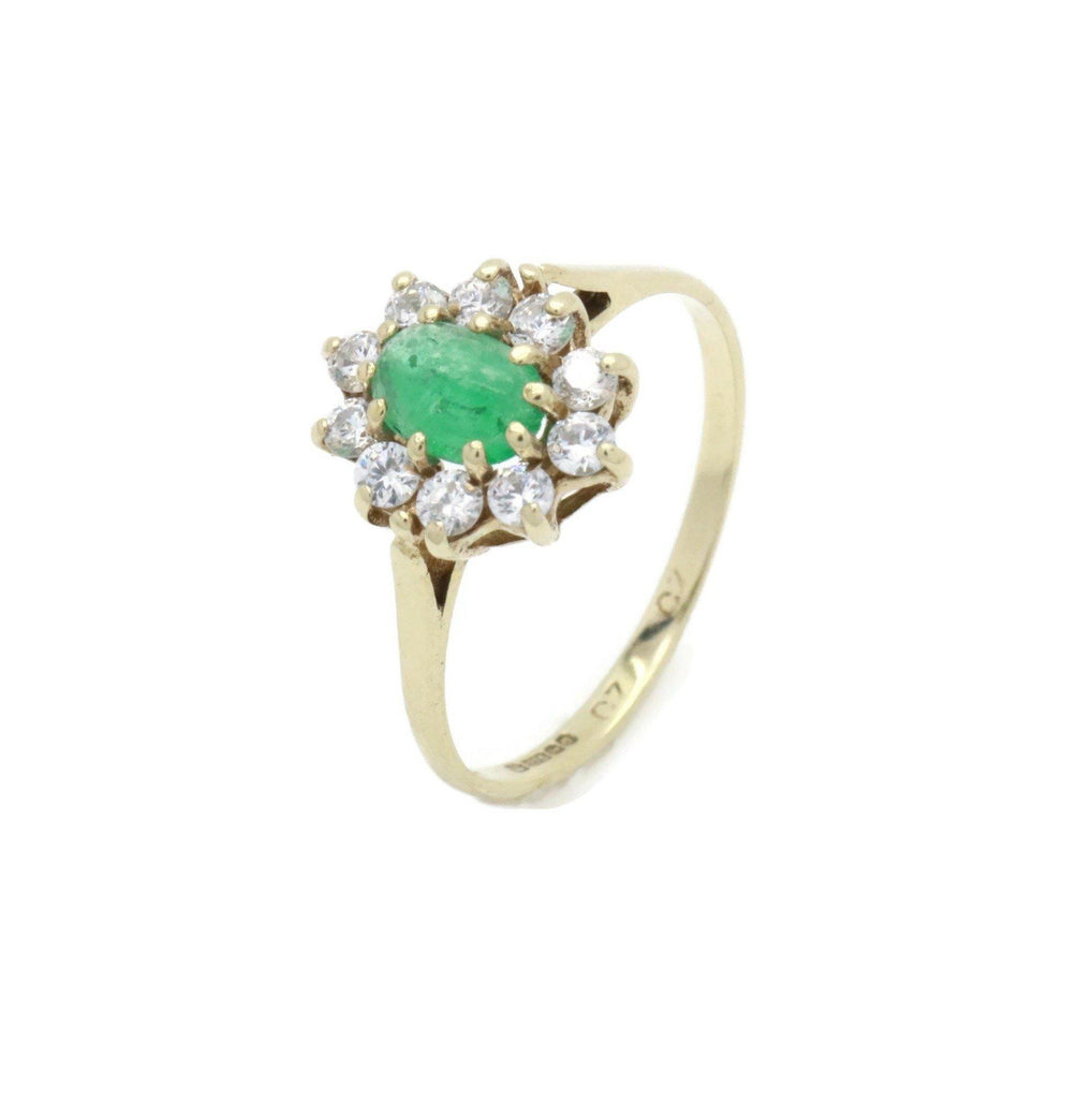 Emerald & Cubic Zirconia Ring 9ct Yellow Gold - Renee Isabella