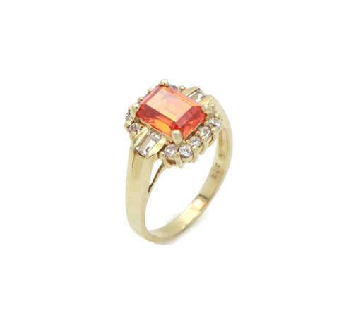Opal Cubic Zirconia Engagement Ring 9ct Yellow Gold