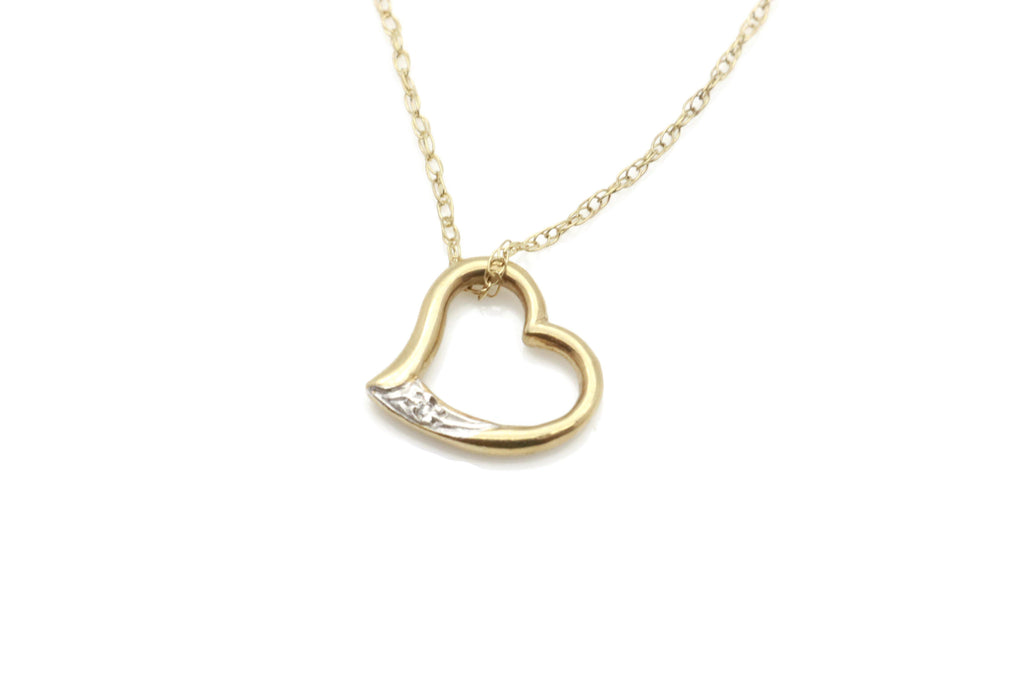 Diamond Floating Heart Pendant 9ct Gold