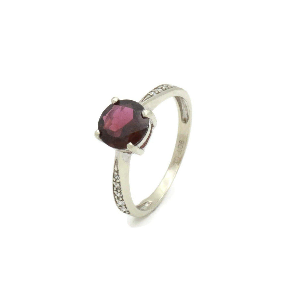 Garnet & Cubic Zirconia Ring 9ct White Gold - Renee Isabella