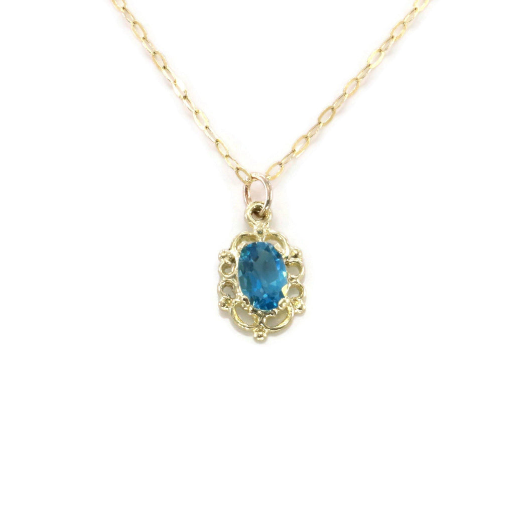 Blue Topaz Pendant 9ct Gold