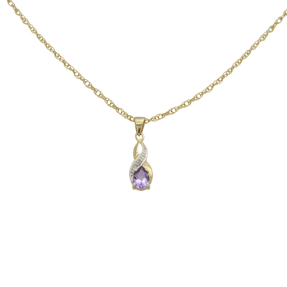 Amethyst Pendant, Amethyst Diamond, Diamond Necklace, Birthstone Necklace, Amethyst Jewelry, Gold Necklace, Statement Necklace, Simple Necklace, Delicate Necklace, Gemstone Necklace, Purple Necklace, Teardrop Necklace, Everyday Necklace