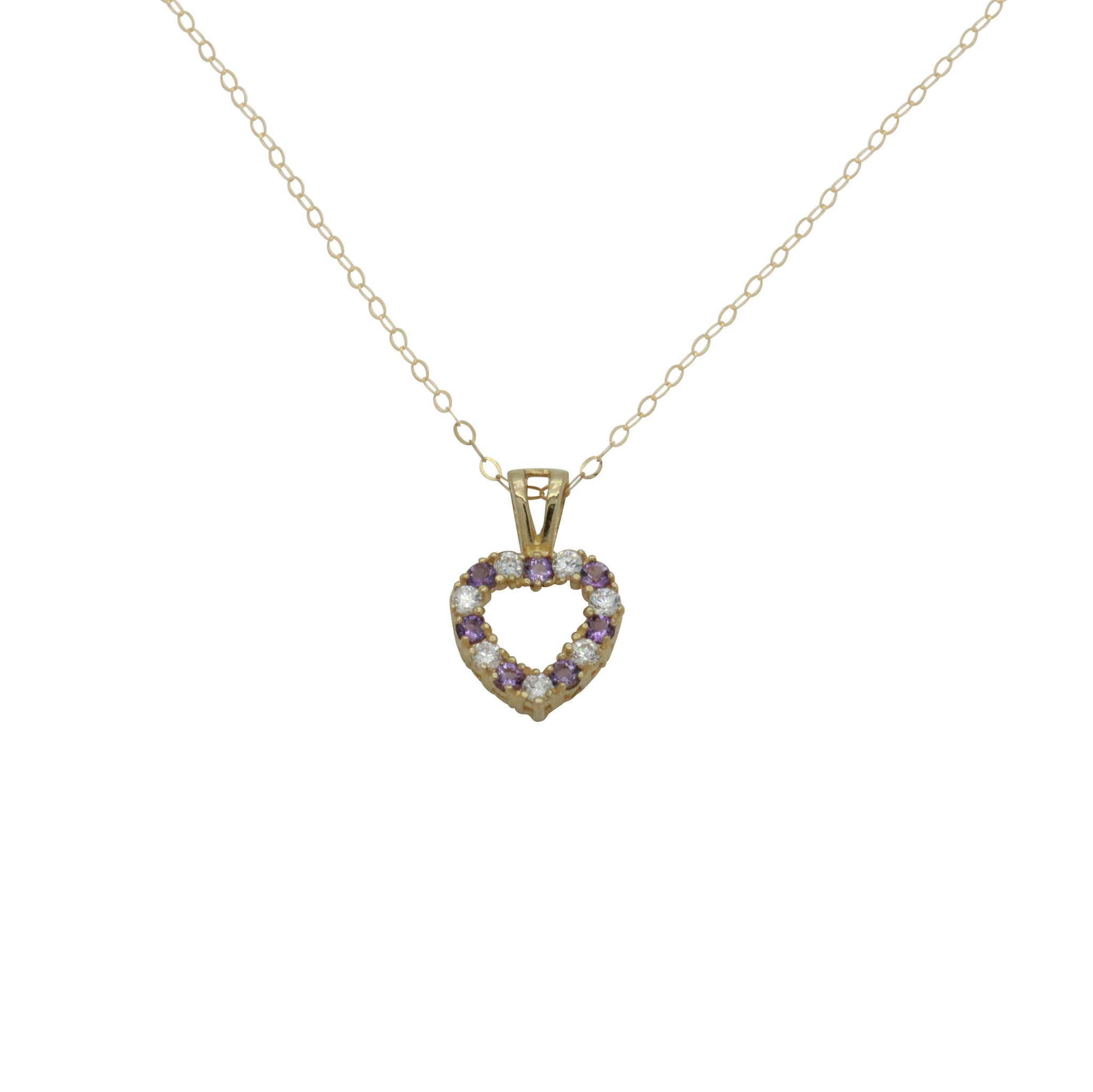 Amethyst Necklace, Cubic Zirconia, Amethyst Jewellery, CZ Necklace, Gold Necklace, 9ct Amethyst Heart, Gold Amethyst, Gemstone Pendant, Birthstone Necklace, Birthstone Pendant, Amethyst Stone, Amethyst Pendants, Birthstone Jewellery