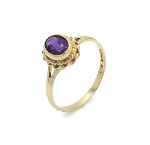 Rings for Women, Birthday Jewellery, February Amethyst, Amethyst Jewelry, Womens Gold Ring, Universal Gold, Vintage Purple Ring, Purple Stone Ring, Gift for Her, size 7 ring, Gold Amethyst Ring, Oval Amethyst Ring, Christmas Gift
