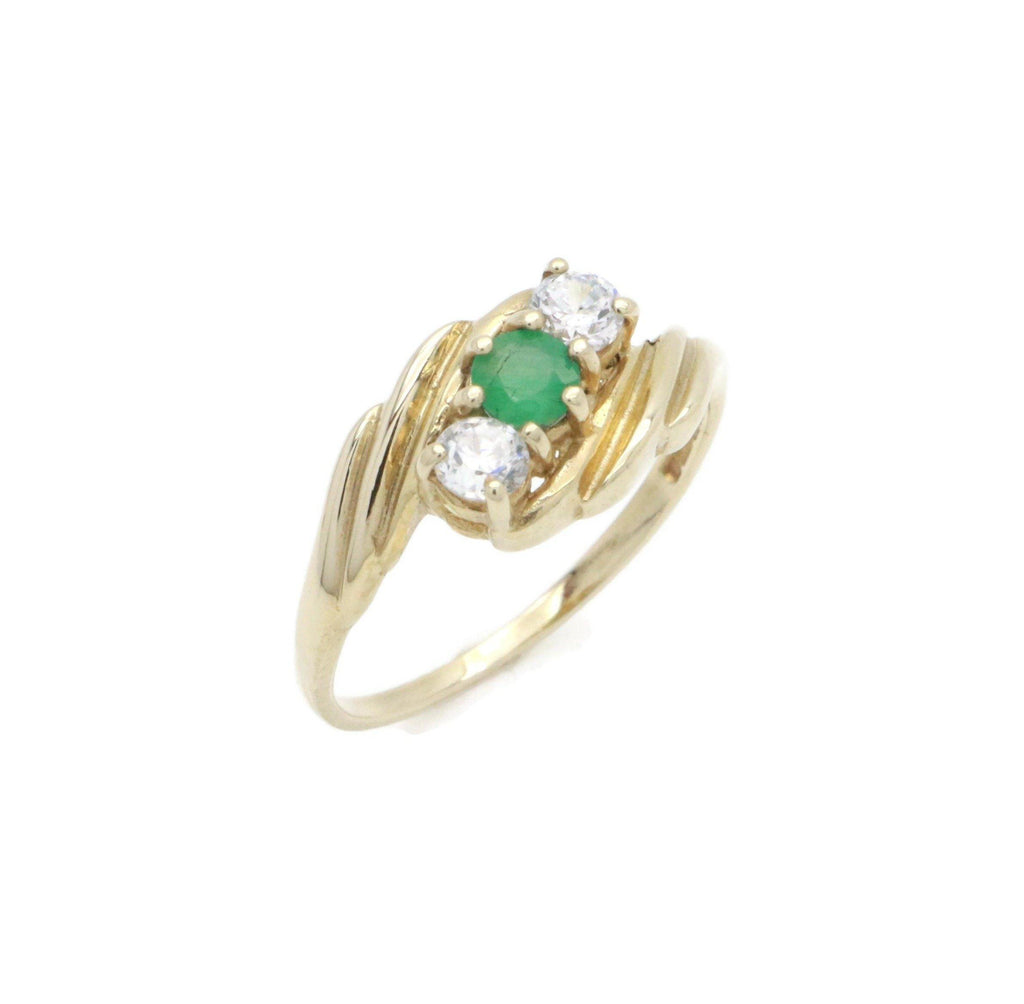 Emerald & Cubic Zirconia Engagement Ring 9ct Gold - Renee Isabella