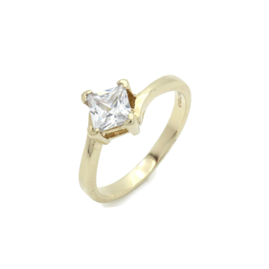 Cubic Zirconia Engagement Ring 9ct Yellow Gold - Renee Isabella