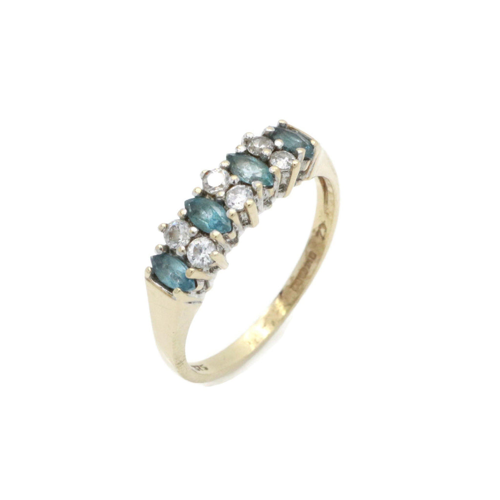 Blue Topaz & Cubic Zirconia Ring 9ct Yellow Gold - Renee Isabella