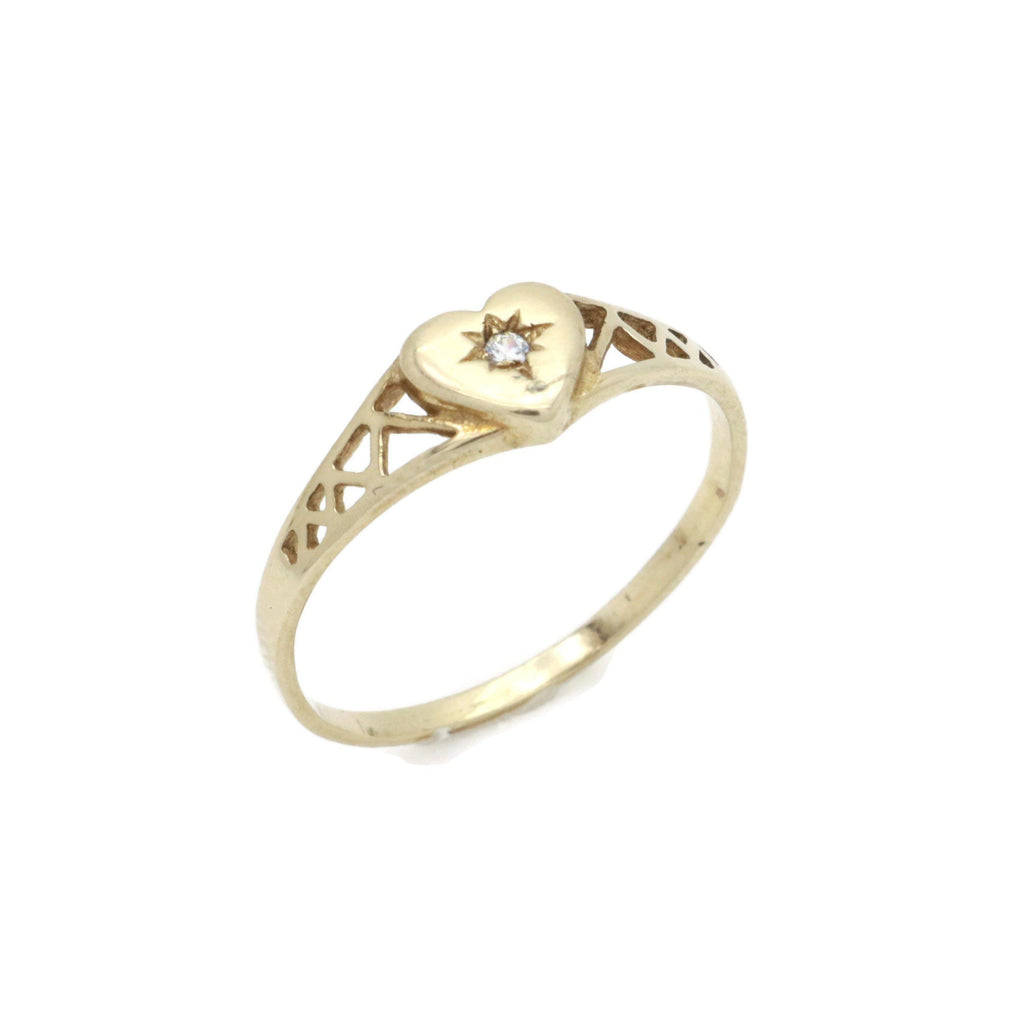 Cubic Zirconia Heart Ring 9ct Yellow Gold - Renee Isabella