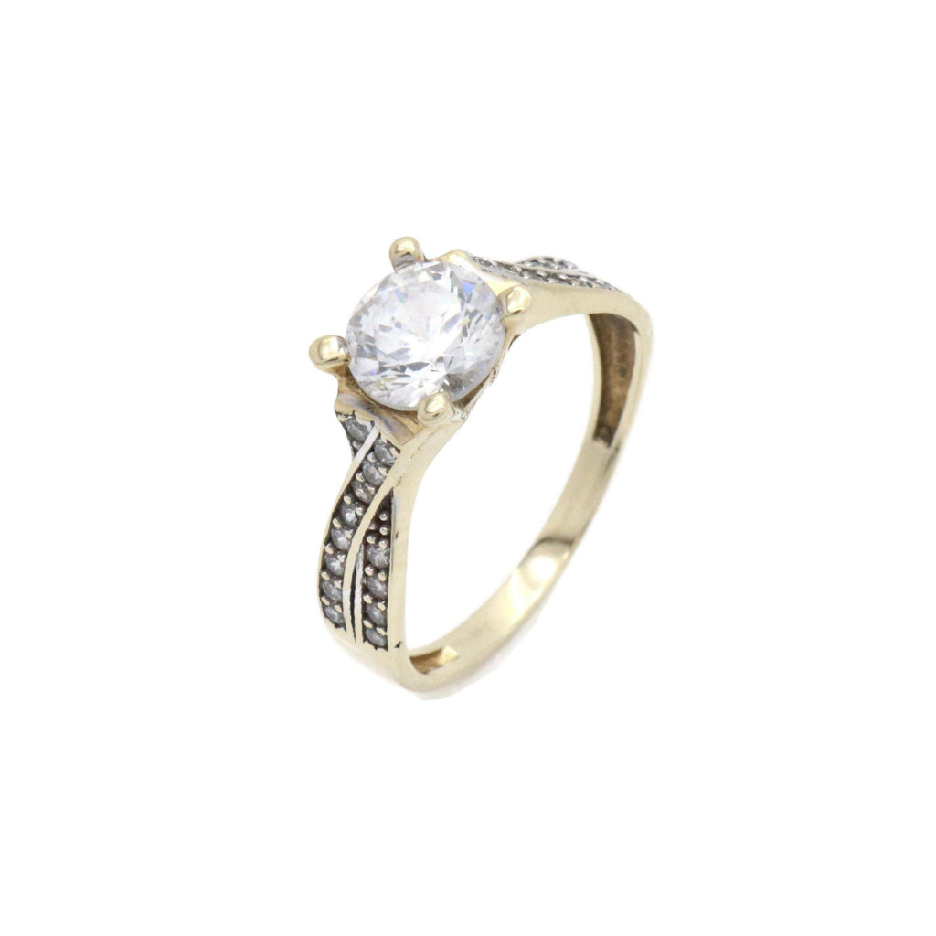 Cubic Zirconia Solitaire Ring 9ct Yellow Gold - Renee Isabella