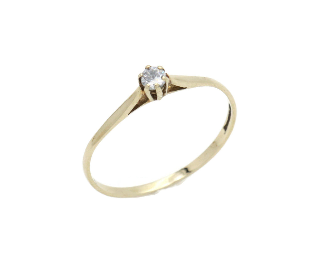 Cubic Zirconia Solitaire Ring 9ct Gold - Renee Isabella