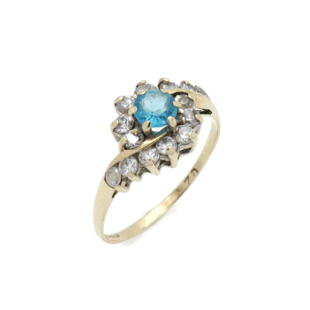 Blue Topaz & Cubic Zirconia Ring 9ct Gold - Renee Isabella